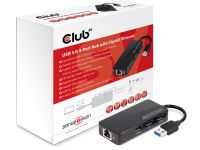 Club3D SenseVision USB 3.0 3-Port Hub with Gigabit Ethernet - dockingstation